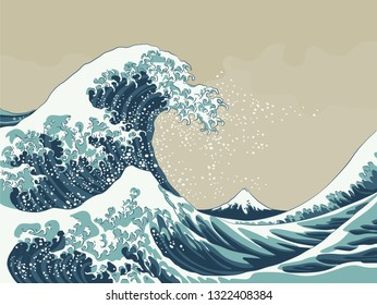 Great Wave with Mount Fuji 19th century japanese style woodblock print vector illustration