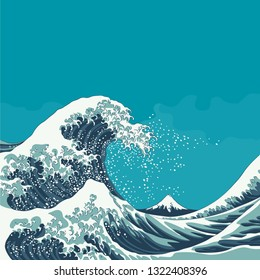 Great Wave and Mount Fuji vintage japanese woodcut style vector illustration