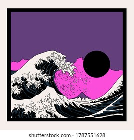 Great Wave off Kanagawa in Vaporwave Pop Art style. View on the ocean's crest leap.