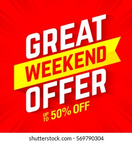 Great weekend offer banner vector illustration