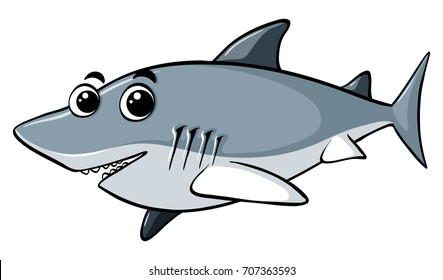 Great white shark with happy face illustration