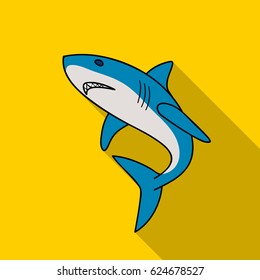 Great white shark icon in flate style isolated on white background. Surfing symbol stock vector illustration.