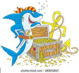 Great white shark and a pirate chest with treasures