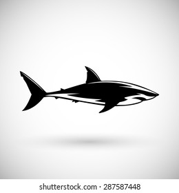 Great white shark sign  logo on a white background