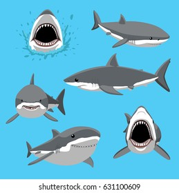 Great White Shark Six Poses Cartoon Vector Illustration