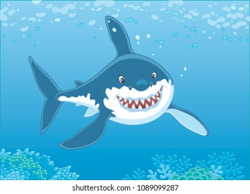 Great white shark swimming over a coral reef in blue water of a tropical sea, vector illustration in a cartoon style