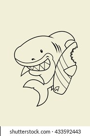 The great white surfer.Funny looking surfer shark cartoon character.Isolated coloring book illustration
