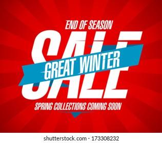 Great winter sale, end of season design in retro style.