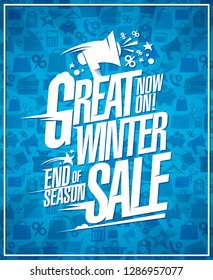 Great winter sale vector poster with loudspeaker, end of season discounts