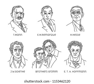 The great writers of Germany. T.Mann, E.M.Remarque, H.Hesse, J.W.Goethe, Brothers Grimm, E. T. A. Hoffmann