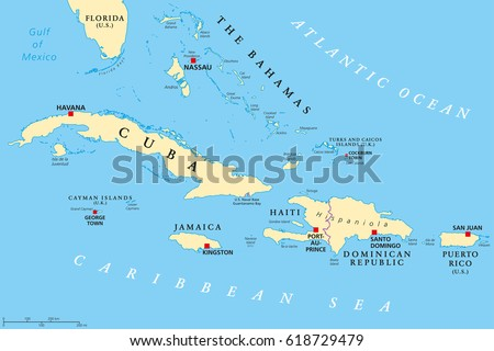 Greater Antilles Political Map Caribbean Islands Stock Vector ...