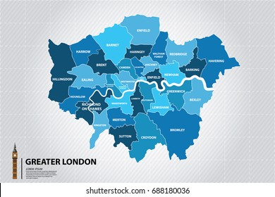 Greater London map showing all boroughs. Big Ben,The icons of England