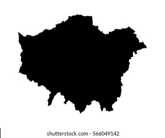 Greater London vector silhouette map isolated on white background. London map of main town in United Kingdom and in England country.