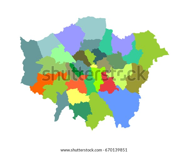 Greater London Vector Silhouette Map Isolated Stock ...
