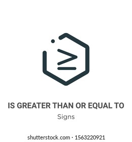 Is greater than or equal to symbol vector icon on white background. Flat vector is greater than or equal to symbol icon symbol sign from modern signs collection for mobile concept and web apps design.