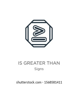 Is greater than icon vector. Trendy flat is greater than icon from signs collection isolated on white background. Vector illustration can be used for web and mobile graphic design, logo, eps10