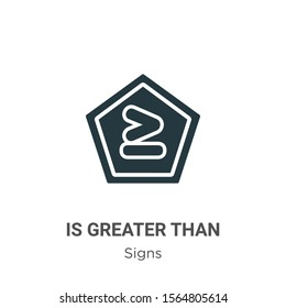 Is greater than vector icon on white background. Flat vector is greater than icon symbol sign from modern signs collection for mobile concept and web apps design.