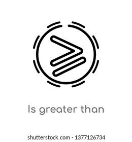 is greater than vector line icon. Simple element illustration. is greater than outline icon from signs concept. Can be used for web and mobile