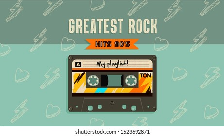 Greatest rock music hits. Retro style aesthetic party invitation card. Fashion background. 90's, eighties graphic. Rave music party. Vintage poster, banner. Aesthetic graphic  design. Audio Cassette.