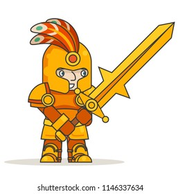 Greatsword two-handed sword warrior warlord knight fantasy medieval action game RPG character isolated icon vector illustration