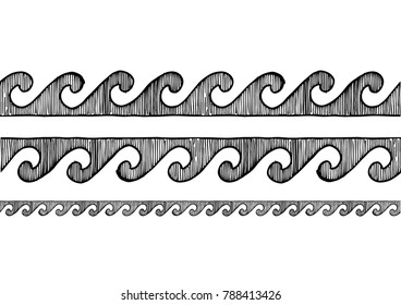 grecian wave. old greek border ornament in ink hand drawn style. Horizontal seamless pattern border.