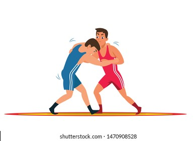 Greco roman wrestling flat vector illustration. Young wrestlers, professional fighters cartoon characters. Sparring partners training exercise. Championship match, traditional single combat