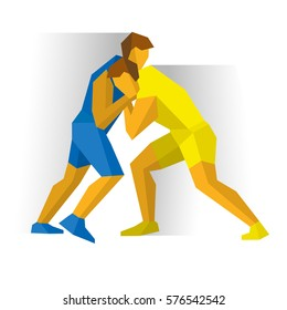 Greco-Roman Freestyle Wrestling. Athlete isolated on white background with shadows. International sport games infographic. Two fighters competition - flat style vector clip art.