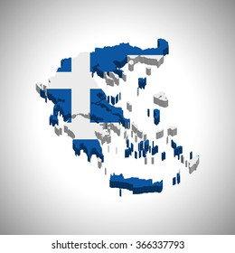 Greece - 3D map and flag