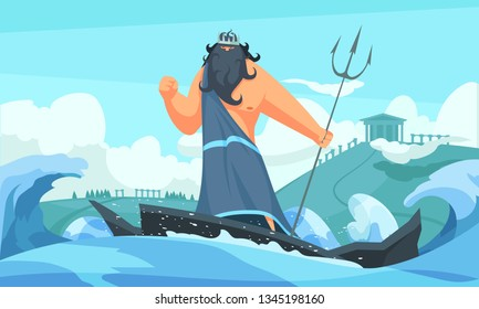 Greece ancient gods flat cartoon strip with poseidon among waves striking sea with his trident vector illustration