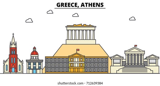 Greece, Athens. City skyline: architecture, buildings, streets, silhouette, landscape, panorama, landmarks. Editable strokes. Flat design line vector illustration concept. Isolated icons set