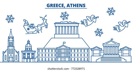 Greek city images stock photos vectors shutterstock greece athens winter city skyline merry christmas happy new year decorated banner with m4hsunfo Choice Image