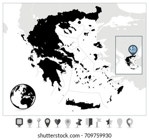 Greece Black Map and Flat Map Markers. Detailed vector map of Greece and navigation icons.