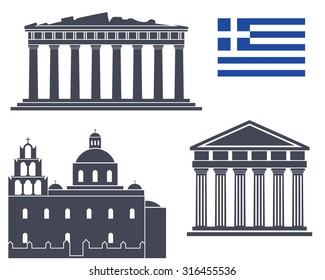 Greece buildings logo. Abstract Greece buildings on white background