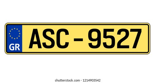 Greece car plate. Vehicle registration number
