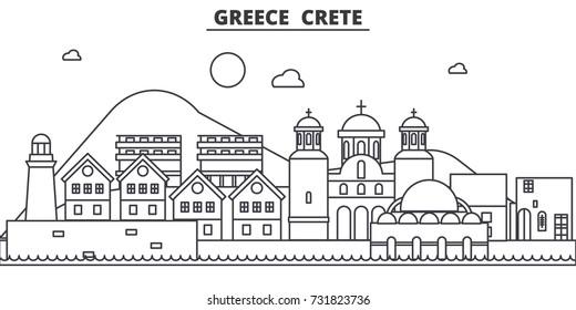 Greece, Crete architecture line skyline illustration. Linear vector cityscape with famous landmarks, city sights, design icons. Landscape wtih editable strokes