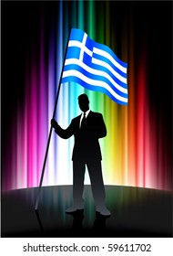 Greece Flag with Businessman on Abstract Spectrum Background Original Illustration