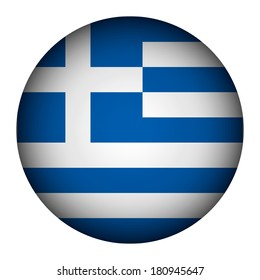 Greece flag button on a white background. Vector illustration.