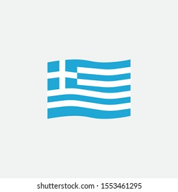 Greece flag colors flat icon, vector sign, Greece waving flag colorful pictogram isolated on white. Symbol, logo illustration. Flat style design