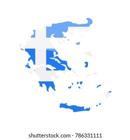 Greece Flag Country Contour Vector Icon - Illustration