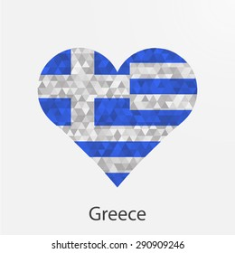 Greece flag heart in geometric,mosaic polygonal style.Love to country.Abstract tessellation,background. Vector illustration EPS10