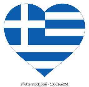 greece flag in heart vector illustration sign. Flag of greece in the shape of Heart with contrasting contour, symbol of love for his country or valentine day, patriotism.