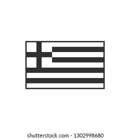 Greece flag icon in black outline flat design. Independence day or National day holiday concept.