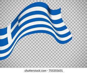Greece flag icon on transparent background. Vector illustration
