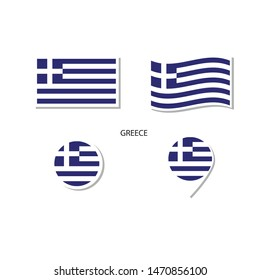 Greece flag logo icon set, rectangle flat icons, circular shape, marker with flags.
