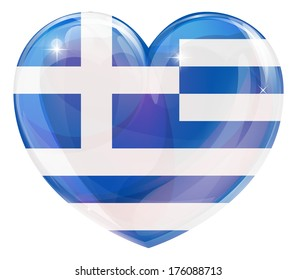 Greece flag love heart concept with the Greek flag in a heart shape