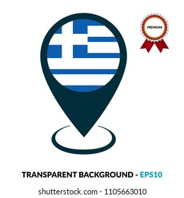 Greece flag and navigation icon.Greece here. map pointer