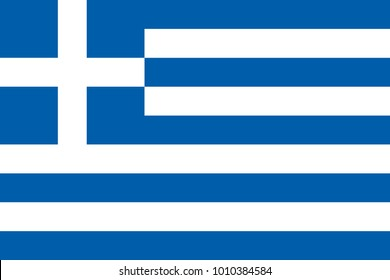 Greece flag with official colors and the aspect ratio of 2:3. Flat vector illustration.