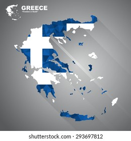 Greece flag overlay on Greece map with polygonal and long tail shadow style (EPS10 art vector)
