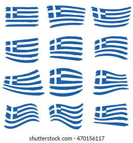 greece flag set illustration art on white background in colorful