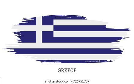Greece flag vector grunge paint stroke